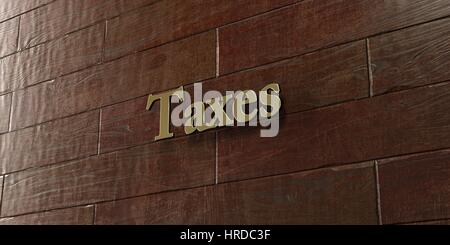 Taxes - Bronze plaque mounted on maple wood wall  - 3D rendered royalty free stock picture. This image can be used - Stock Photo