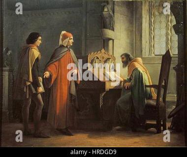 Giovanni Mochi - Dante Alighieri in atto di presentare Giotto a Guido da Polenta - Stock Photo