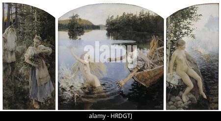 Akseli Gallen-Kallela - Aino Myth, Triptych - Google Art Project - Stock Photo