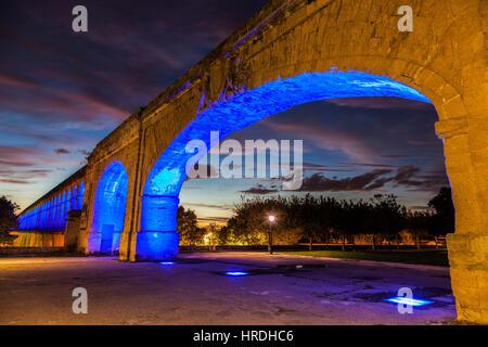 Saint Clement Aqueduct in Montpellier. Montpellier, Occitanie, France. - Stock Photo