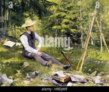 Paul Gustave Fischer - The Artist Painting En Plein Air - Stock Photo