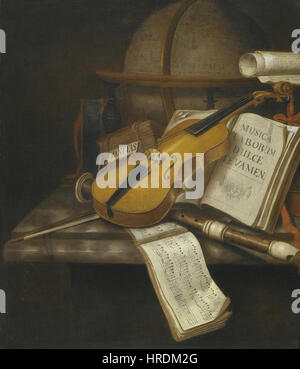 Edwaert Collier - A vanitas still life with a violin, a recorder and a score of music on a marble table-top - Stock Photo