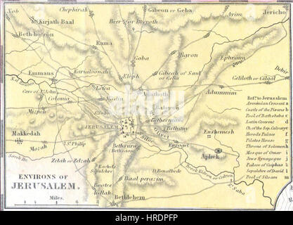 Environs of Jerusalem. 1836 Tanner Map of Palestine - Israel - Holy Land - Geographicus - Palestine-tanner-1836 - Stock Photo