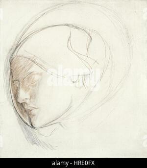 Dante Gabriel Rossetti - Found (study for head of woman) - Stock Photo