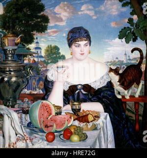 Boris Kustodiev - Merchant's Wife at Tea - Google Art Project - Stock Photo