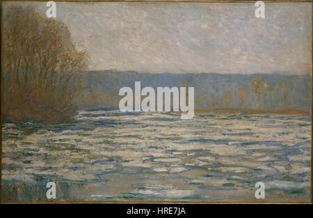 Claude Monet - Ice breaking up on the Seine near Bennecourt - Google Art Project - Stock Photo