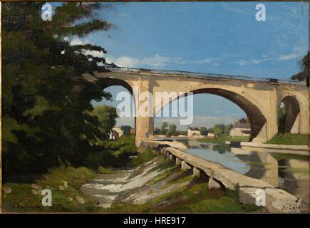Henri-Joseph Harpignies - The Railroad Bridge at Briare - Google Art Project - Stock Photo