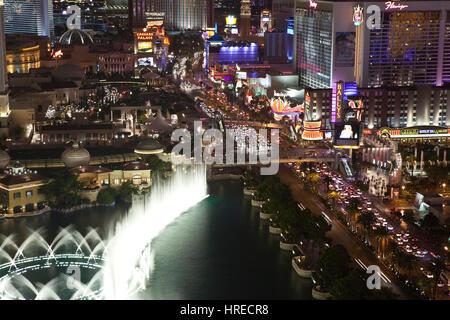 Las Vegas, Nevada, USA - October 6, 2011:  Fountains near Bellagio and Caesars Palace on the Las Vegas strip. - Stock Photo