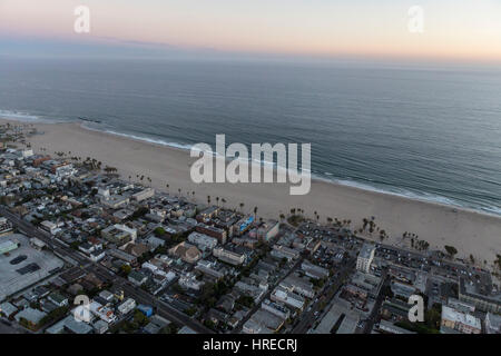Los Angeles, California, USA - July 21, 2016:  After sunset aerial of Venice beach and ocean in the city of Los - Stock Photo