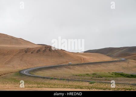 Scenic ring road through volcanic area in Iceland - Stock Photo