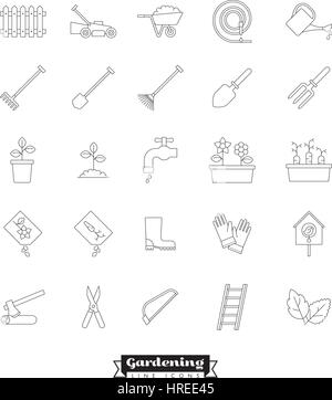Collection of vector gardening line icons - Stock Photo