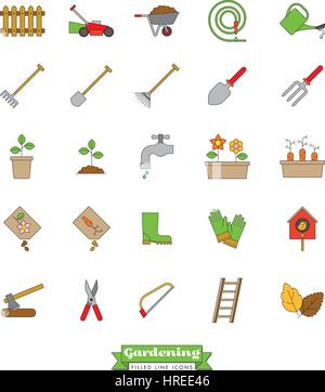Collection of vector gardening line icons with color fill - Stock Photo