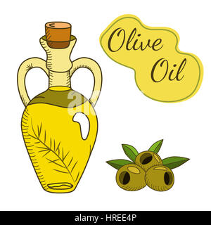 Olive oil in the bottle with a branch and berries. Sketch style. Hand drawn vector EPS10  illustration. - Stock Photo