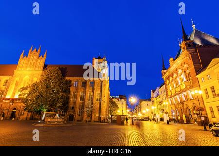 Old Market Square and Old Town Hall in Torun. Torun, Kuyavian-Pomeranian, Poland. - Stock Photo