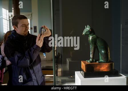 British Museum, London England UK. Feb 2017 The Gayer-Anderson Cat, 600BC, possibly from Saqqara. - Stock Photo