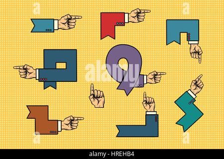 Set of business hand signs arrows isolated background. Comic book vintage pop art retro style illustration vector - Stock Photo