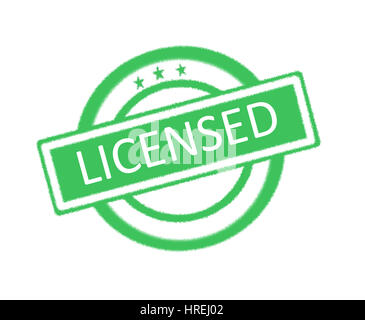 Illustration of licensed word on green rubber stamp - Stock Photo