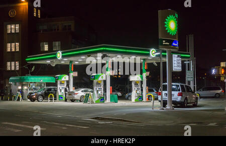 A BP gas station on Flushing Avenue in the Bushwick neighborhood of Brooklyn in New York on Tuesday, February 21, - Stock Photo