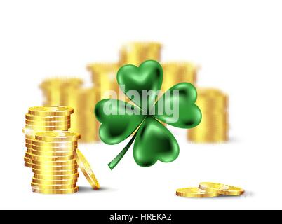 Green clover leaf, vector illustration for St. Patrick day. Blured stack of coins and four-leaf on white background. - Stock Photo