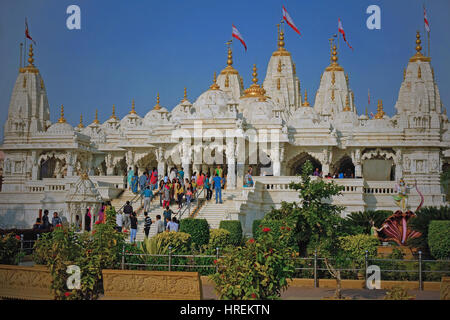 The recently built Shri Swaminarayan Hindu temple in Bhuj, India, with its doors and domes made of gold, and ceilings - Stock Photo
