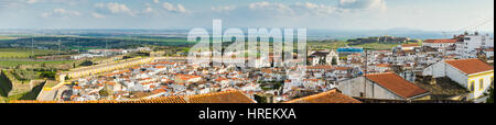 Panoramic view of Old city of Elvas, south of Portugal. - Stock Photo