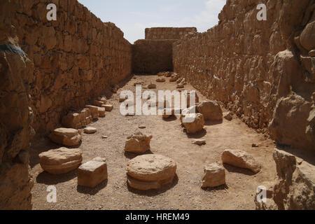 One of the store rooms or storerooms found on Massada. Massada or Masada, Israel. 27.02.2017 - Stock Photo