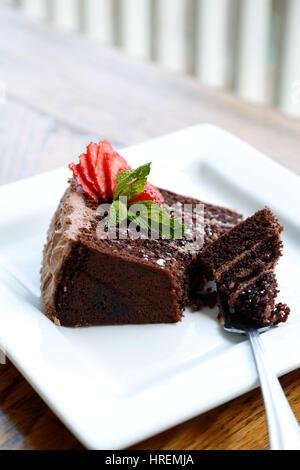 Five Layer Chocolate Cake, Dining Hall, Chautauqua Park, Boulder, Colorado USA - Stock Photo