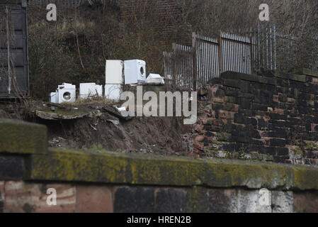 Liverpool, UK, 1st March 2017. A wall collapse which caused bricks and debris to spill onto the track has closed - Stock Photo