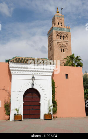 The Koutoubia Mosque near Jemaa el-Fnaa central square in Marrakesh (Marrakech), Morocco - Stock Photo