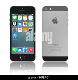 KIEV, UKRAINE - JANUARY 29, 2015: Brand new black Apple iPhone 5s, front and back sides, designed and developed - Stock Photo