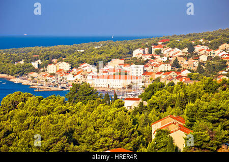 Bol on Brac island panoramic view, Dalmatia, Croatia - Stock Photo