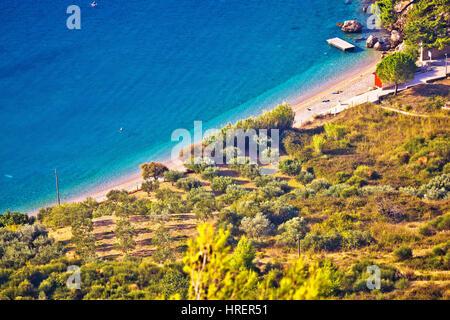 Famous beach in Bol aerial view, island of Brac, Dalmatia, Croatia - Stock Photo