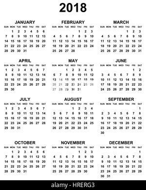 calendar 2018 monday to sunday