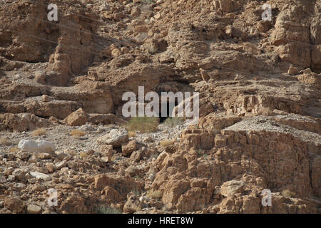 Cave number eleven where the Temple Scroll and parts of twenty four other Dead Sea scrolls like Leviticus, Psalms - Stock Photo