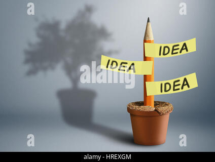 Idea creative concept, pencil with tree shadow - Stock Photo