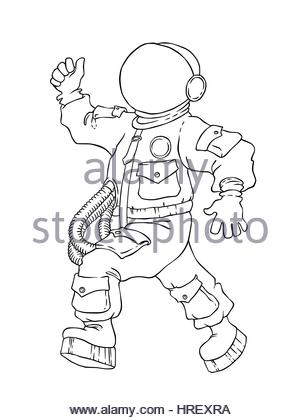 school boy with drawing space rocket on board illustration of walking and cheering astronaut in space suit and face mask with thumb up