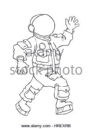 illustration of a walking and greeting the astronaut in space suit and mask vector drawing
