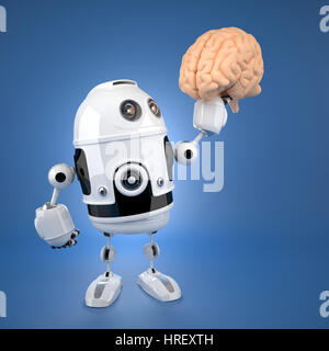 Android robot holding brain. Artificial intelligence concept - Stock Photo