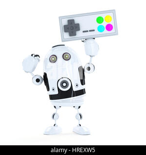 Android robot with a wireless game pad. Isolated on white
