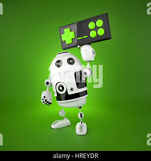 Android Robot with a wireless gamepad. Isolated on white