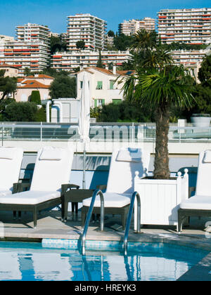 View from rooftop swimming pool, Nice, France - Stock Photo