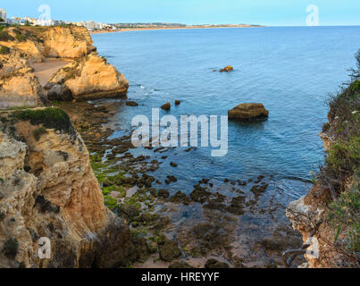 Beach Praia dos Beijinhos summer evening view. Atlantic coast landscape (Lagoa, Algarve, Portugal). - Stock Photo
