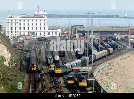 A high level view looking down onto the now closed Dover Town rail freight yard in 1990. - Stock Photo