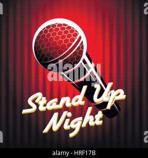 Microphone emblem against red curtain background with wording Stand Up Night. Comedian night show or battle party - Stock Photo