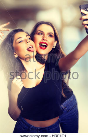 Funny Teens Taking a Selfie in the Summer. - Stock Photo