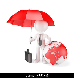 Businessman with Umbrella and earth globe. Global protection concept. Isolated - Stock Photo