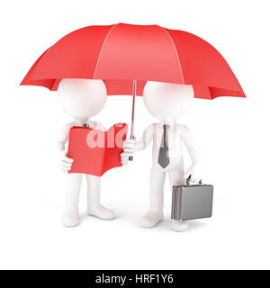 Group of business people with umbrella and manual. Isolated on white - Stock Photo