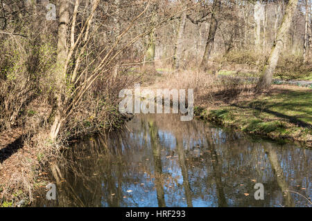 Lake and trees in the Tiergarten park, Berlin, Germany - Stock Photo
