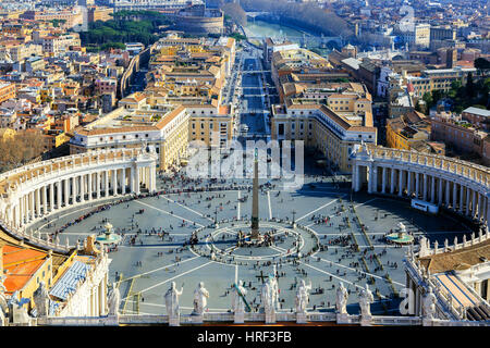 High View over St Peters square, Piazza di San Pietro, Vatican City, Rome, Italy - Stock Photo