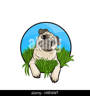Pug dog. Animal art, cute cartoon style, hand drawn illustration. Suitable for pet shop or zoo ads, label design - Stock Photo